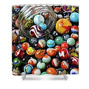 Glass Jar And Marbles Shower Curtain