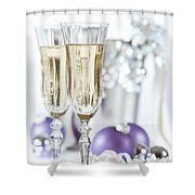 Glasses Of Champagne Shower Curtain by Amanda Elwell