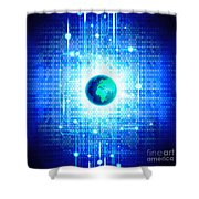 Globe With Technology Background Shower Curtain