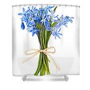 Blue Wildflower Bouquet Shower Curtain