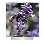 Glowing Bee In Purple Flowers Shower Curtain