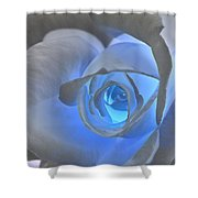 Glowing Blue Rose Shower Curtain