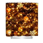 Glowing Golden Christmas Tree Shower Curtain