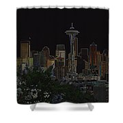 Glowing Seattle Skyline Shower Curtain