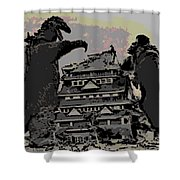 Godzilla And King Kong Hanging Out In Tokyo Shower Curtain
