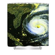 Goes 8 Satellite Image Of Hurricane Fran Shower Curtain by Science Source