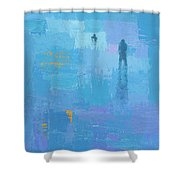 Gold In Blue Shower Curtain