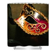 Gold Scroll Masquerade Mask Shower Curtain