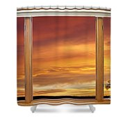 Golden Country Sunrise Window View Shower Curtain by James BO  Insogna
