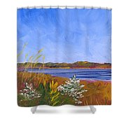 Golden Delaware River Shower Curtain
