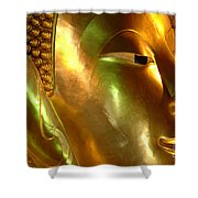 Golden Face Of Buddha Shower Curtain
