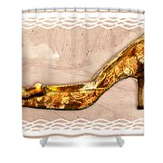 Golden Floral Royalty Shoe Shower Curtain