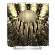 Golden Fractal Shower Curtain