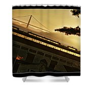 Golden Gate And Flag  Shower Curtain