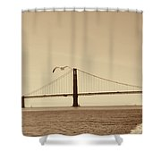 Golden Gate Bridge-sepia Shower Curtain
