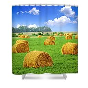 Golden Hay Bales In Green Field Shower Curtain