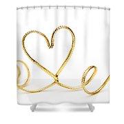 Golden Heart Shower Curtain