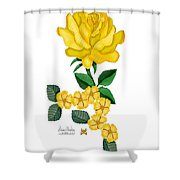 Golden January Rose Shower Curtain by Anne Norskog