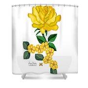 Golden January Rose Shower Curtain
