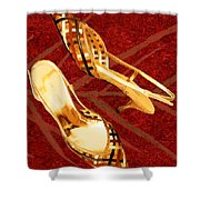 Golden Lattice Slingbacks On Royal Red Carpet Shower Curtain