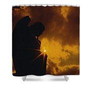 Golden Light Silhouette Shower Curtain