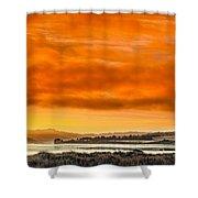 Golden Morning Over Humboldt Bay Shower Curtain
