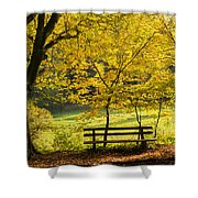 Golden October - Bench And Yellow Trees In Fall Shower Curtain