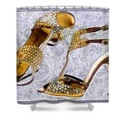 Golden Studded Stilettos Shower Curtain