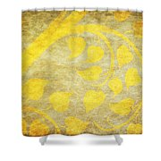 Golden Tree Pattern On Paper Shower Curtain