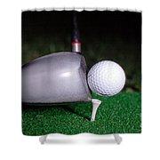 Golf Club Hitting Ball Shower Curtain