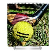 Golf - Tee Time With A 3 Iron Shower Curtain
