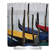 Gondolas At Harbor On A Misty Day Shower Curtain