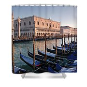 Gondolas Docked Outside Of Piazza San Shower Curtain
