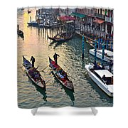 Gondolieri At Grand Canal. Venice. Italy Shower Curtain