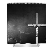 Good Friday - Crucifixion Of Jesus Bw Shower Curtain