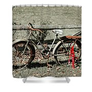 Good Ole Times Bike And Hand Pump Shower Curtain