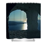 Good View Santorini Island Shower Curtain