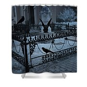 Gothic Surreal Night Gargoyle And Ravens - Moonlit Cemetery With Gargoyles Ravens Shower Curtain