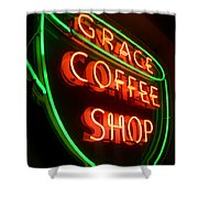 Grace Coffee Shop Neon Shower Curtain