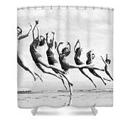 Graceful Line Of Beach Dancers Shower Curtain