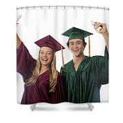 Graduation Couple V Shower Curtain