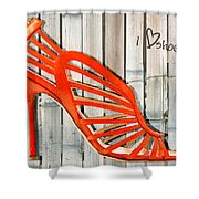 Graffiti Orange Cage Stilettos Shower Curtain