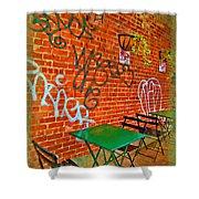Grafitti Dining Shower Curtain by Joan  Minchak
