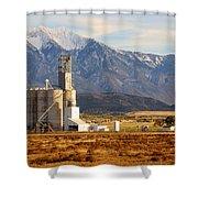 Grain Silo Below Wasatch Range - Utah Shower Curtain