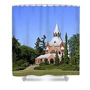 Grand Chapel In Central Cemetery Szczecin Poland Shower Curtain