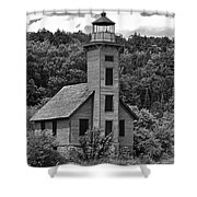 Grand Island Lighthouse Bw Shower Curtain
