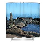 Grand Marais Harbor Rock Family Shower Curtain