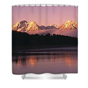 Grand Teton Mountains With Silhouetted Shower Curtain