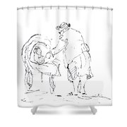 Grandmother With Baby Shower Curtain