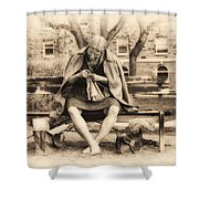 Granny Sitting On A Bench Knitting Ursinus College Shower Curtain